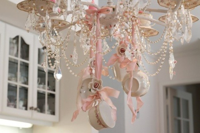 Elegent Chabby Chic Teacup Chandelier - By Janet Shabby Fufu