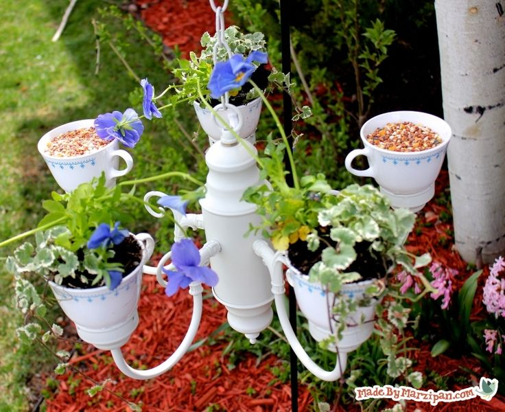 Planter & Bird Feeder Teacup Chandelier - By  Made By Marzipan
