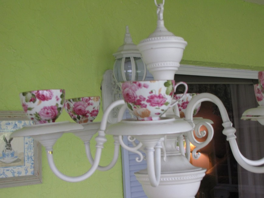 Roses Teacup Chandelier - By Smiling Sally
