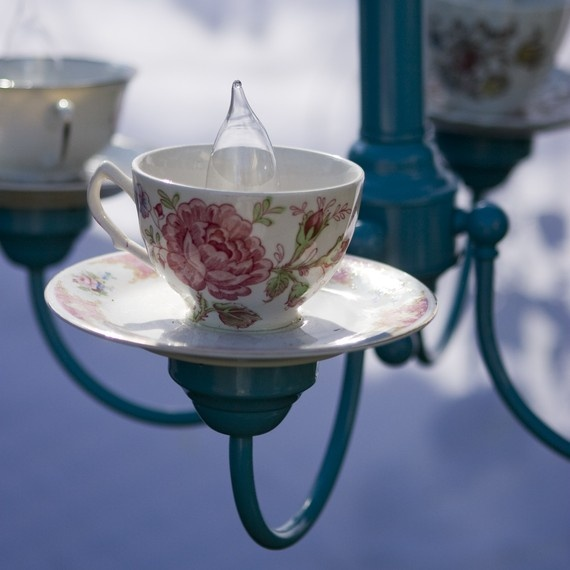 Rose Teacup Chandelier With Blue Body & Arms