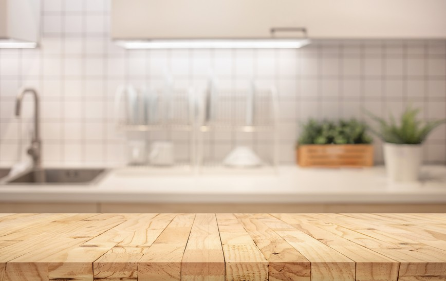 LED lighting in the kitchen. Wooden work surface