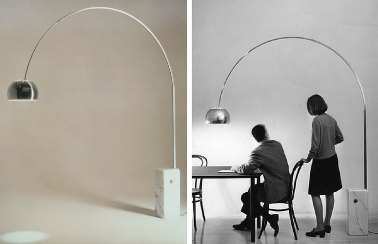 Iconic Lighting Designs - Arco Silver Floor Light Designed by Achille Castiglioni in 1962