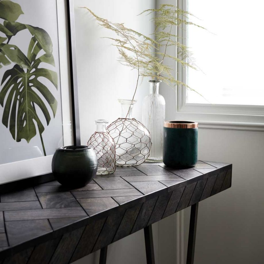 How To Transform Your Living Space With The Dark Wood Trend - Image From Ideal Home - French Connection, Parquet Console Table