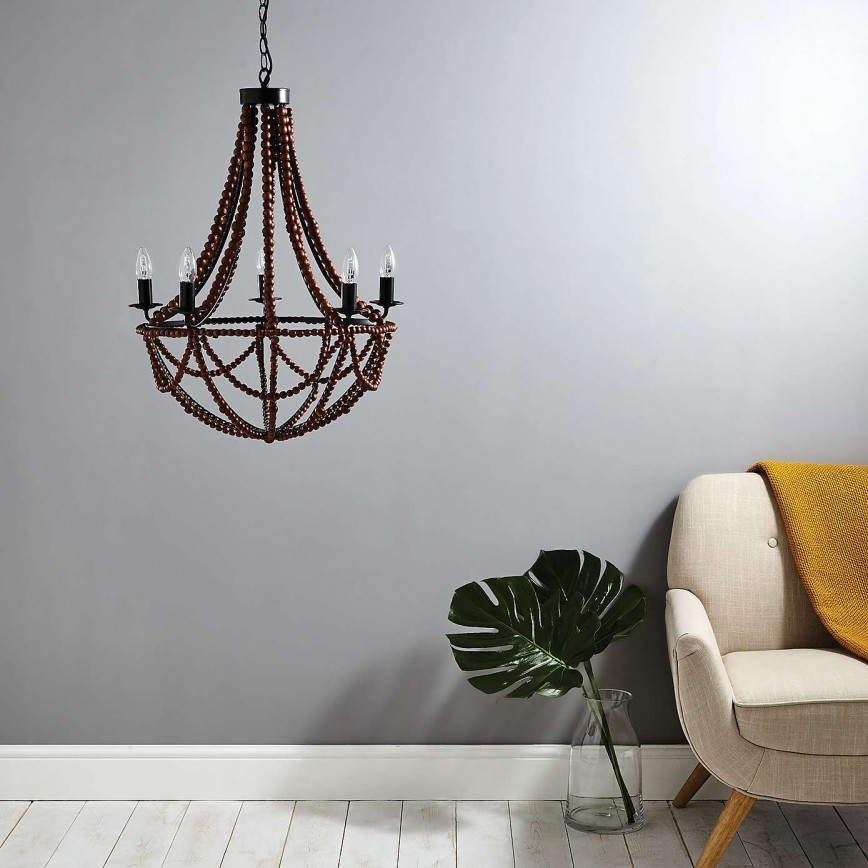 How To Transform Your Living Space With The Dark Wood Trend - Image From Dunelm - Bayan 5 Light Beaded Chandelier