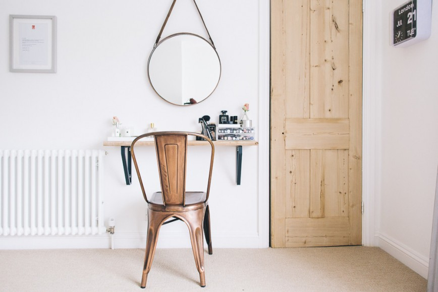 What You Need To Know About Decorating Small Spaces - Mirror & Small Makeup Shelf - Image From RockMyStyle