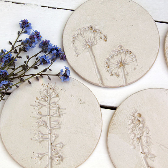 How Etsy Has Helped Interior Design - Wild Flower Ceramic Coasters - Via Etsy - By JulietReevesDesigns
