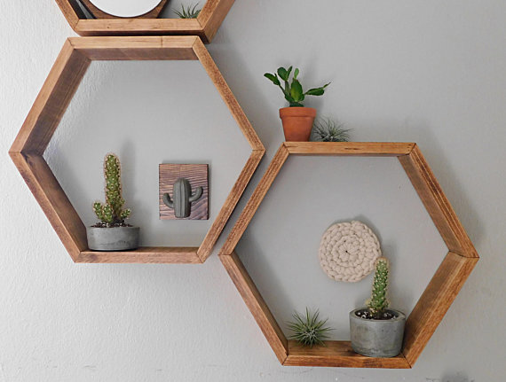 How Etsy Has Helped Interior Design - Hexagon wall planter- Via Etsy - By NEWProjectDesigns