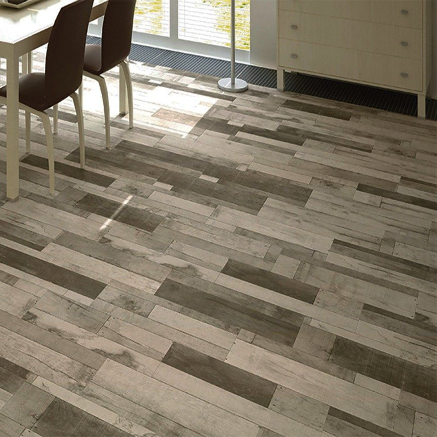 Five Benefits Of Wood Effect Tiles (And How To Style Them) - Madera Gris Ceramic Floor Tiles - Image Via CrownTiles.co.uk