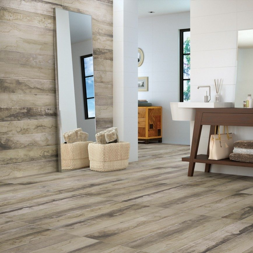Five Benefits Of Wood Effect Tiles (And How To Style Them) - Saloon Natural Porcelain Floor & Wall Tiles - Image Via CrownTiles.co.uk