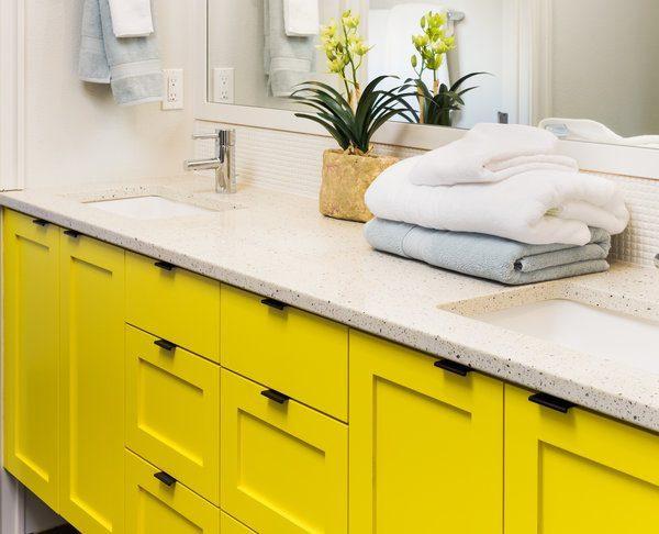 Bathroom, Yellow Colorful Vanity