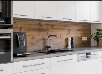White Kitchen, Wooden Splashback