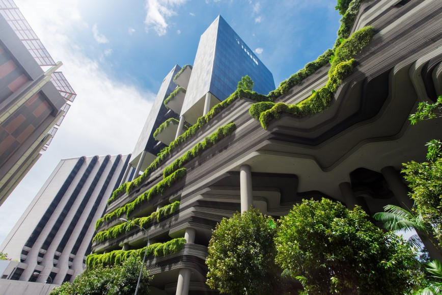 Green nature facade on building