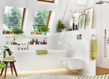 Tranquile White Bathroom With Plants