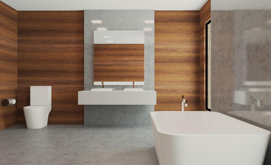 Wood Paneled Walled Bathroom