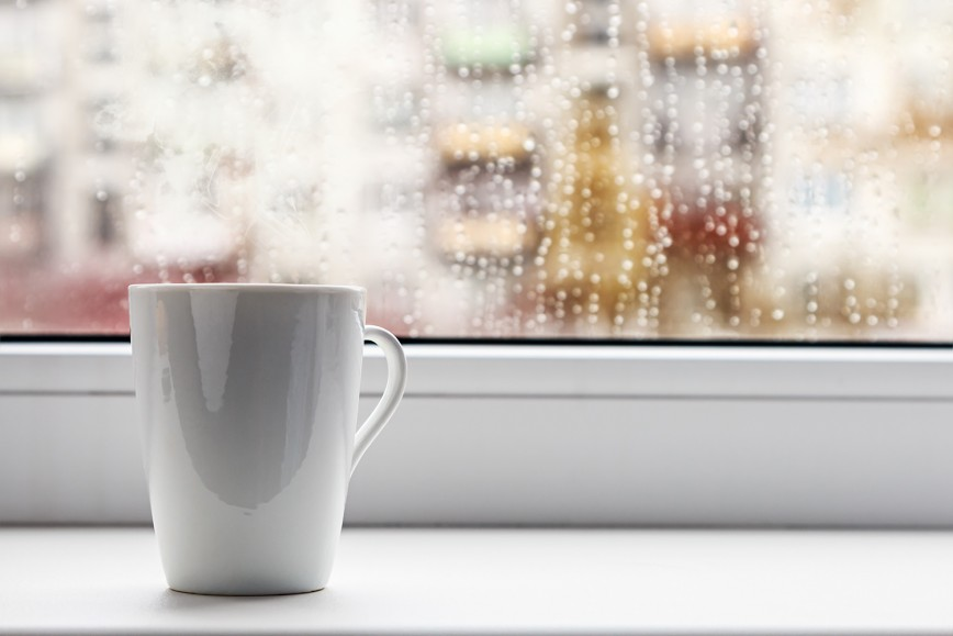 Window sill with hot drink