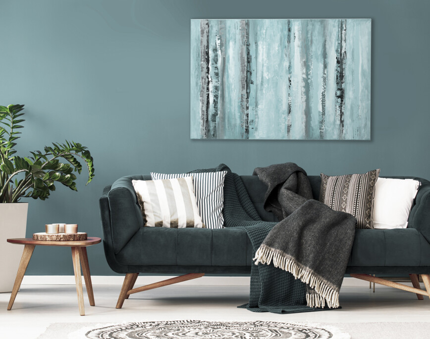 Dark black) coloured sofa in living room.