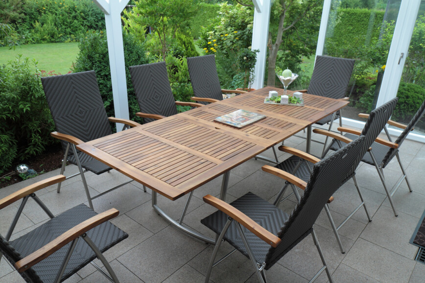 Dining table and chairs in conservatory