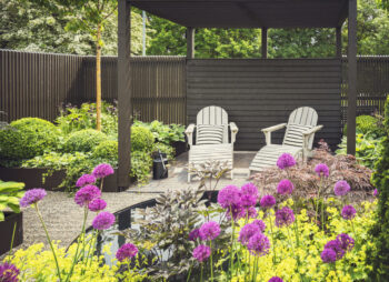 Pergola, reclining chairs and alliums