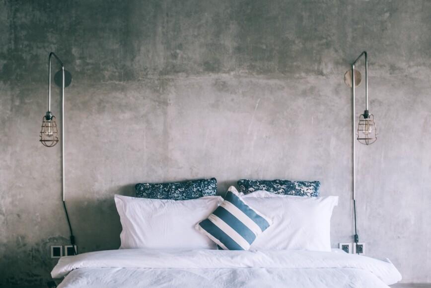 Modernism - Concrete wall. Minimal white Bedding