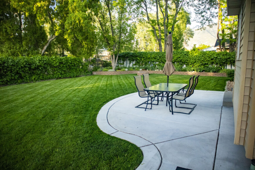 Large green garden with hedge and tree boarders. Stylish patio and garden table and chairs