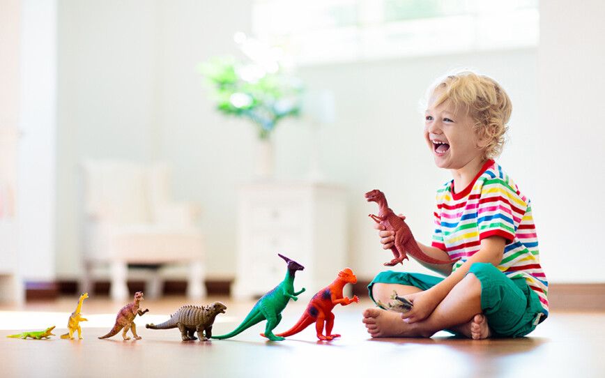 Young child playing with dinosaurs