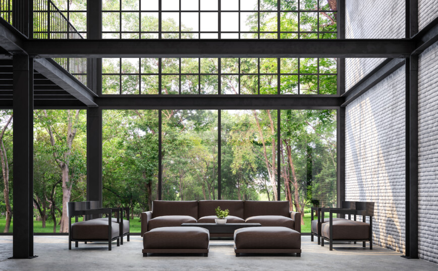 Loft apartment with large steel windows