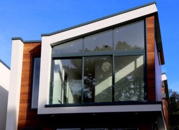 Modern house with large steep windows
